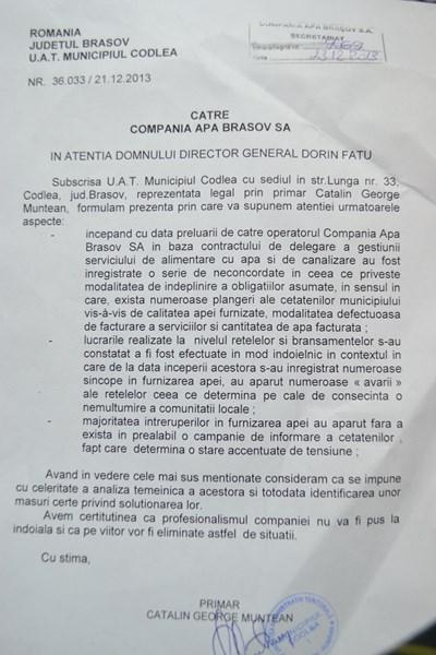 Adresa catre APA Brasov - Primaria Codlea