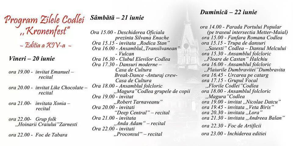 Program Zilele codlei 2014