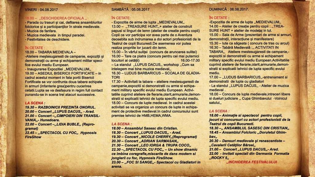 Festivalul istoric Ghimbav afis 2017 program (Copy)